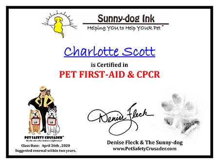 Pet First Aid and CPCR certificate